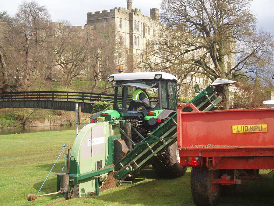 Installing secondary drainage on the jousting field at Warwick Castle