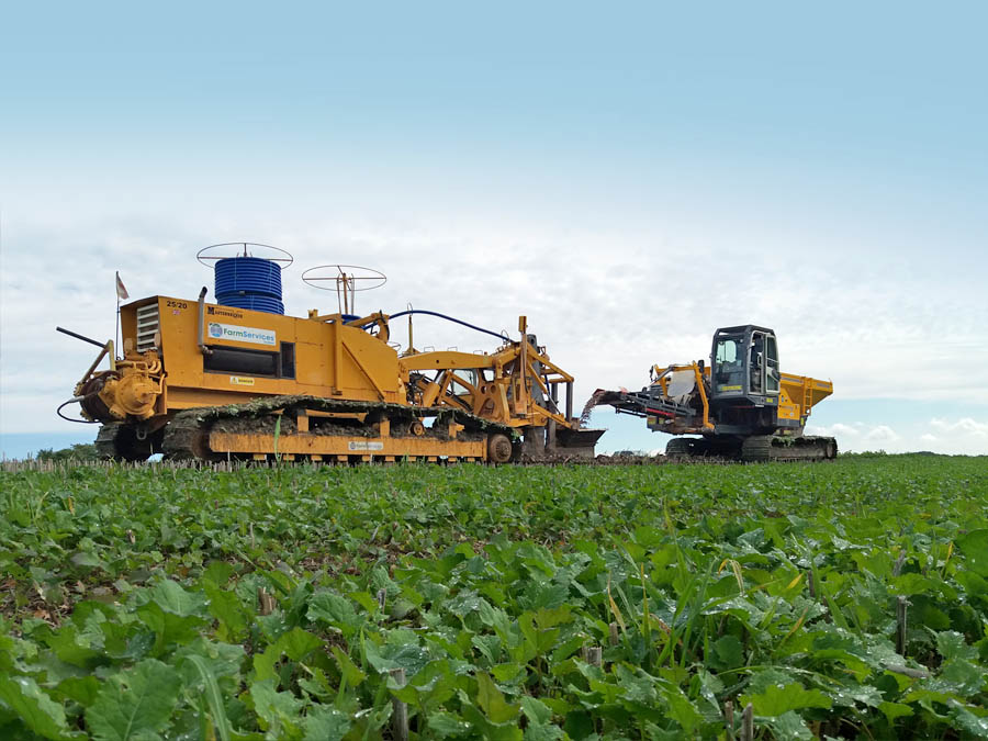 Trenchless drainage with our Mastenbroek 25-20 drainage plow and CT12 Tracked Gravel Cart